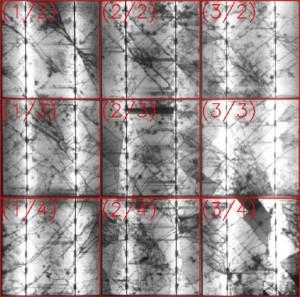 Ein Ausschnitt aus einem anderen Modul: Die Risse in den Zellen verlaufen diagonal und sind relativ lang - ein Zeichen für einen Sturmschaden.
